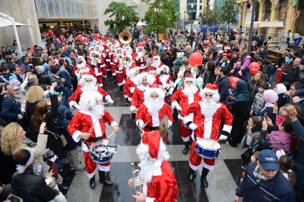 Beirut 19 December 2015 Christmas Village The Charitable Event Kicked Off Today At 3 PM With An Impressive 100 Santa Claus Parade