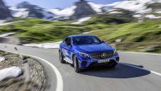 Mercedes-Benz GLC 250 Coupé; Exterieur: brilliantblau; Interieur: designo Leder Nappa platinweiß/schwarz ;Kraftstoffverbrauch kombiniert: 6,9-7,3 l/100 km; CO2-Emissionen kombiniert: 159-170 g/km  Mercedes-Benz GLC 250 Coupé; exterior: brilliant blue; interior: designo Nappa Platinum white/black; fuel consumption combined: 6.9-7.3 l/100 km; CO2 emissions combined: 159-170 g/km