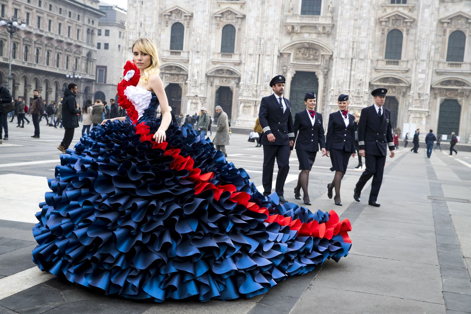 In this handout image supplied by British Airways the airline celebrated its love of Milan by taking British supermodels Suki Waterhouse and David Gandy out onto the city's fashionable streets for two very special photoshoots - followed by an exclusive fashion show and very British afternoon tea experience