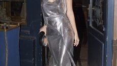 Emily Ratajkowski wearing Paco Rabanne mesh metal dress