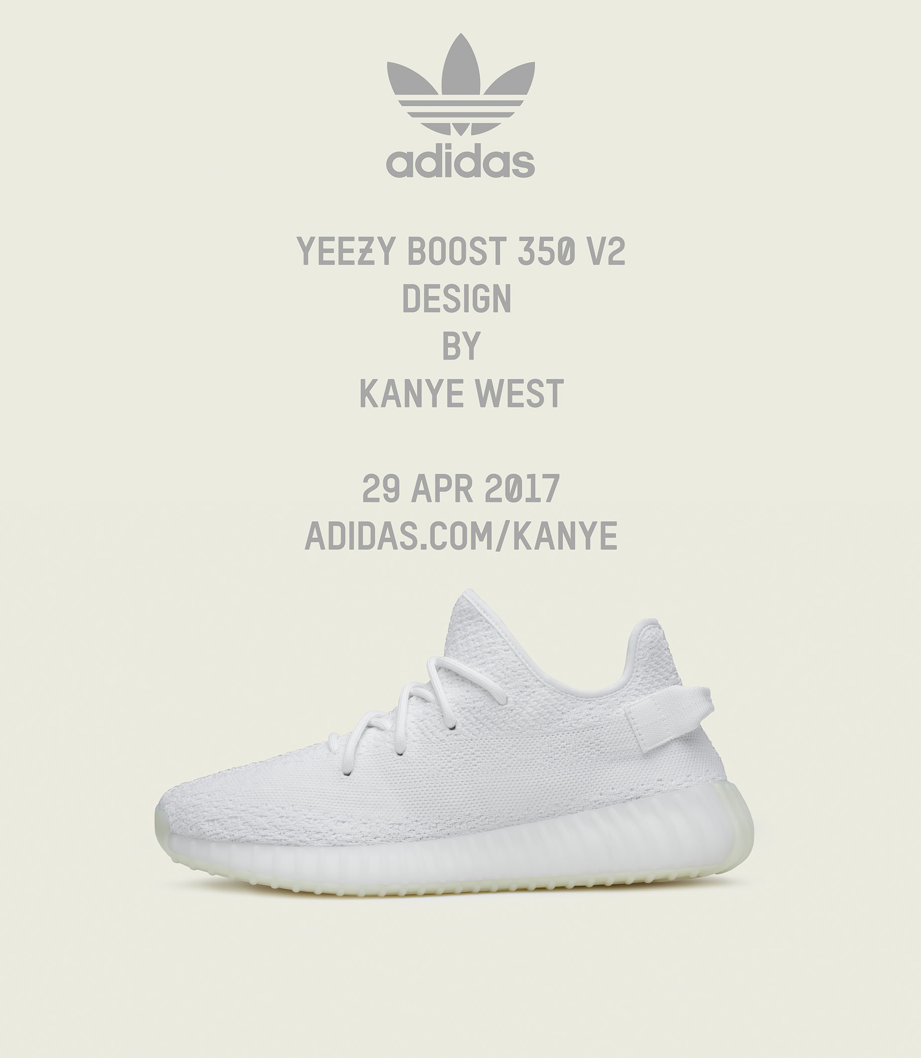 APRIL 2017 – KANYE WEST and adidas announce the YEEZY BOOST 350 Cream White d43653d0b