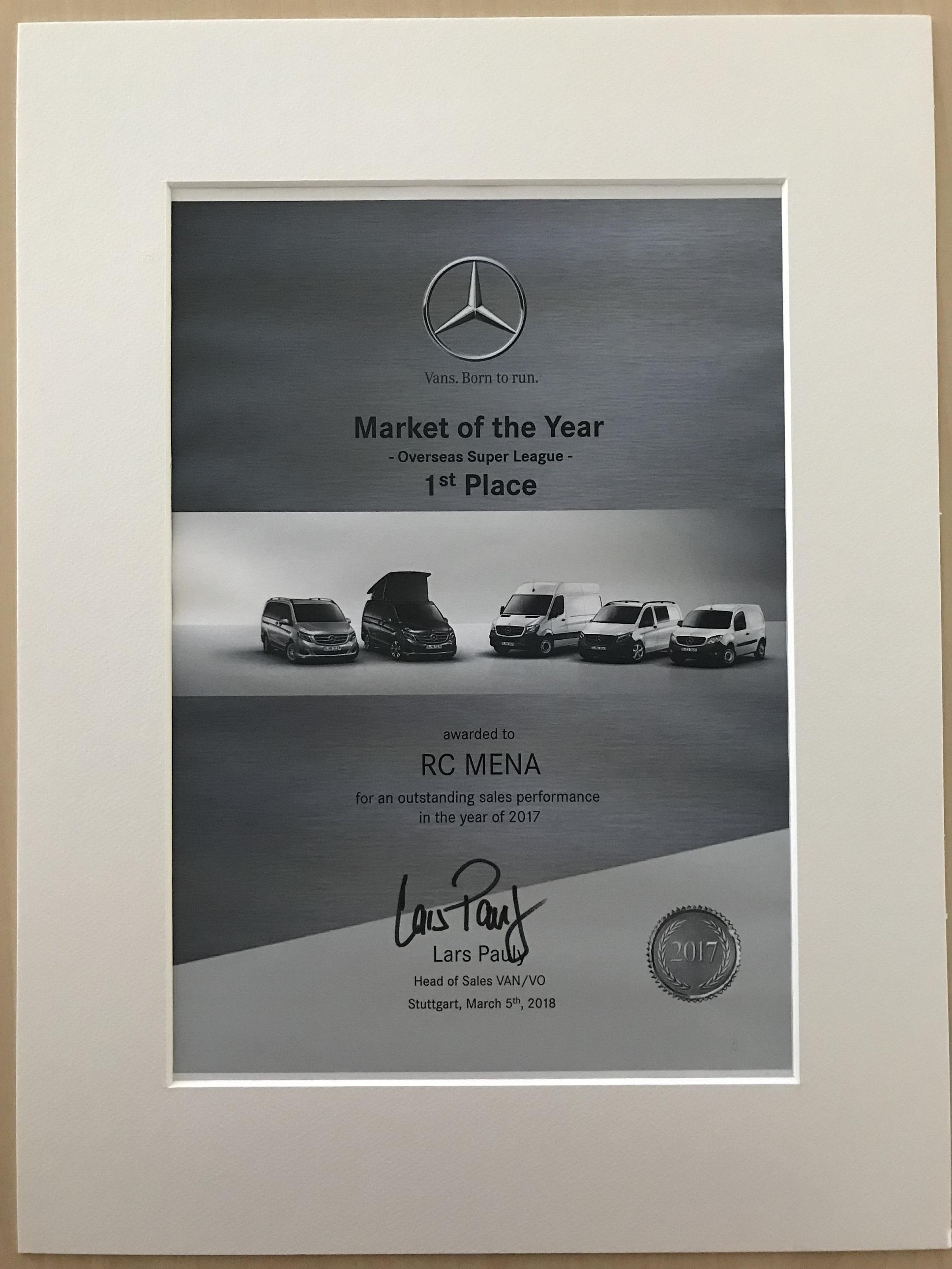 "mercedes-benz vans mena wins daimler ag's ""market of the year award"