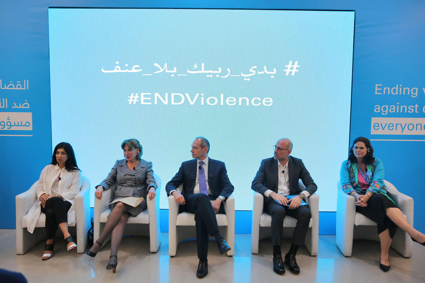 Lebanon / Beirut. 12 June 12, 2018 – UNICEF Lebanon launches a campaign, advocating for positive parenting to replace violent discipline under the tagline #ENDViolence. The launch was attended by Minister of Social Affairs, Pierre Abou Assi, UNICEF representative in Lebanon, Tanya Chapuisat, child protection sector representatives, partners and key donors including the Delegation of the European Union and the embassies of the United Kingdom, Canada and Denmark.  An open panel discussion was attended by Pamela Zougheib, Director of Mother and Child Department at the Ministry of Health representing the minister, Director General of Ministry of Justice Judge Maysam Noueiri, General Director of Education in the Ministry of Education and Higher Education Mr. Fadi Yarak, Director General of the Ministry of Social Affairs, Judge Abdallah Ahmad, UNICEF Deputy Representative Violet Speek Warney, and moderated by journalist Giselle Khoury. Photo Dar al Mussawir.