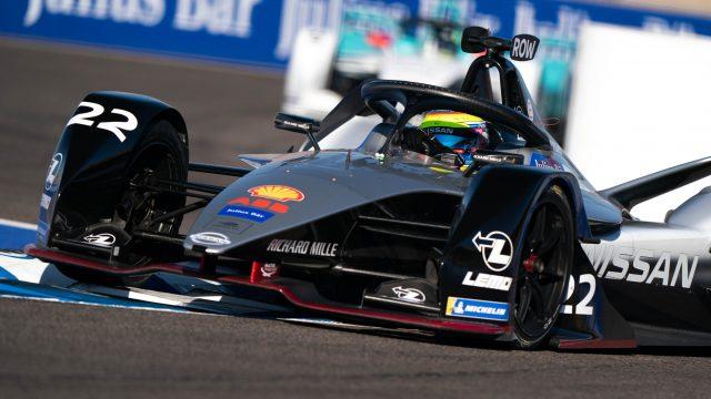 The Nissan e.dams Formula E team in action at the Marrakesh e-Prix.